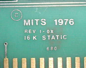 MITS Altair 680 16K Static RAM card.