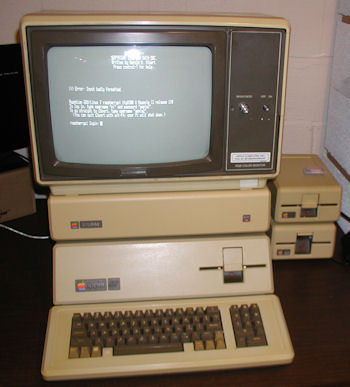 Apple III running terminal software MicroTerminal while connected to Raspberry Pi