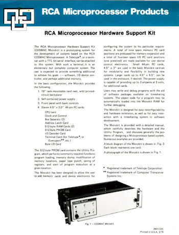 RCA Microprocessor Hardware Support Kit brocure