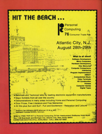 One of the first east coast USA computer shows August 1976, the PC Atlantic City