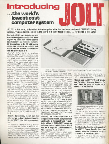 The first production 6502-based single board microcomputer - The Jolt